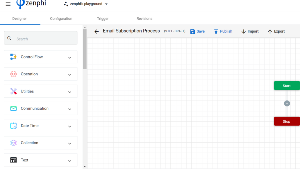 Step 4. Email signup workflow automation using zenphi