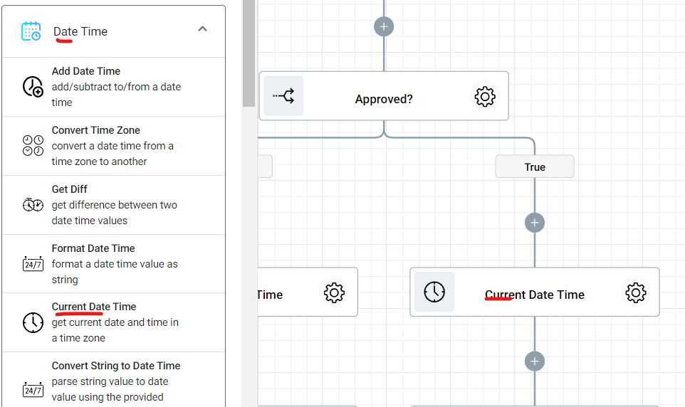 Adding Current Date Time tot True branch of the Document Approval Workflow.
