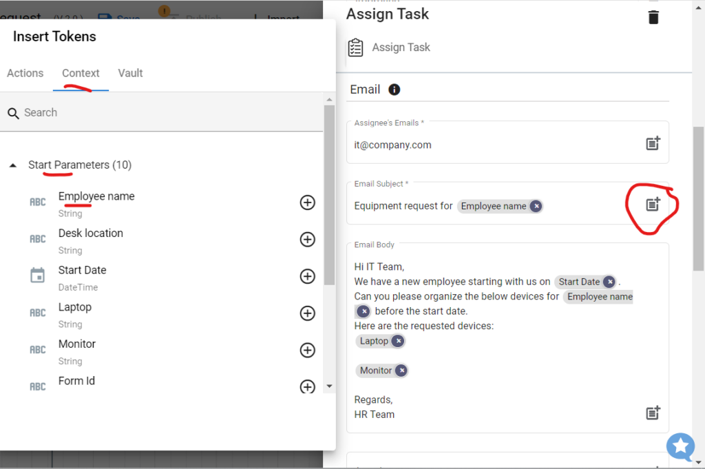 Configuring email subject of the Google Forms Workflows.