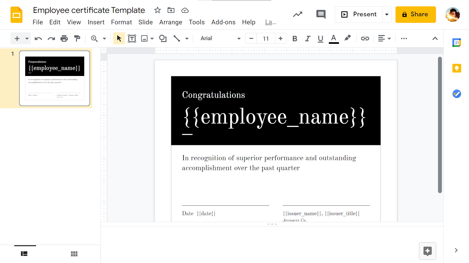 Create the certificate template using Google Slides