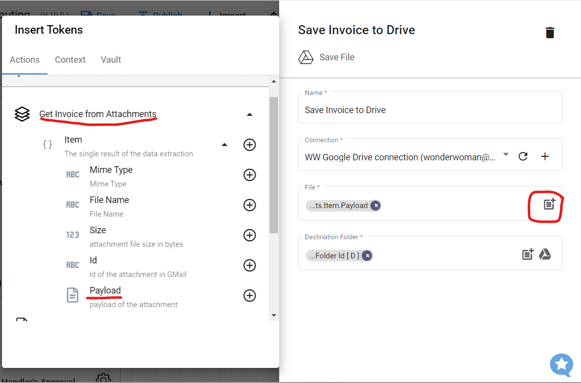 Step 12.2. Configuring the Save File step by assigning the right Google Drive to store the files.