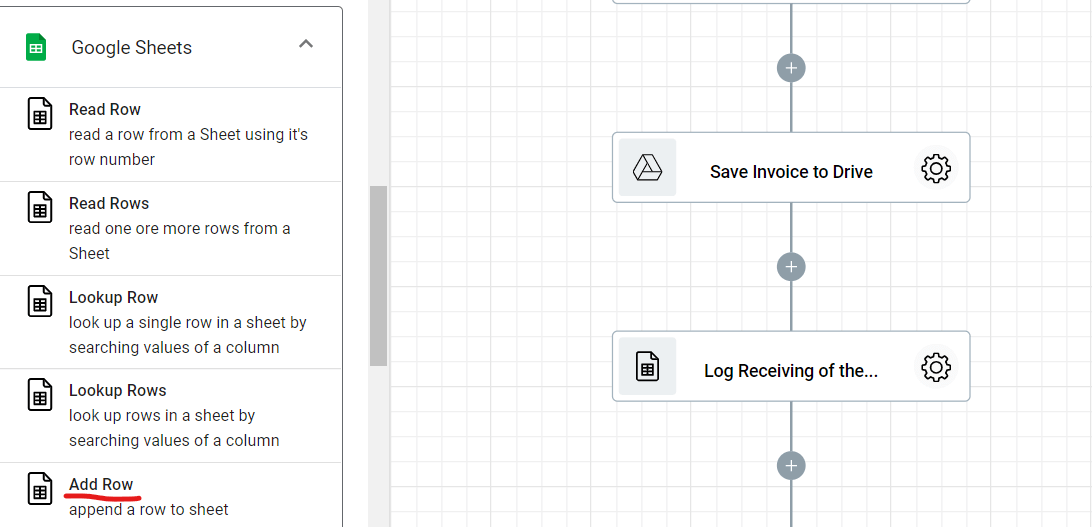 Step 13.1. Integrating Add Row step into the Supplier Invoice Approval workflow automation.