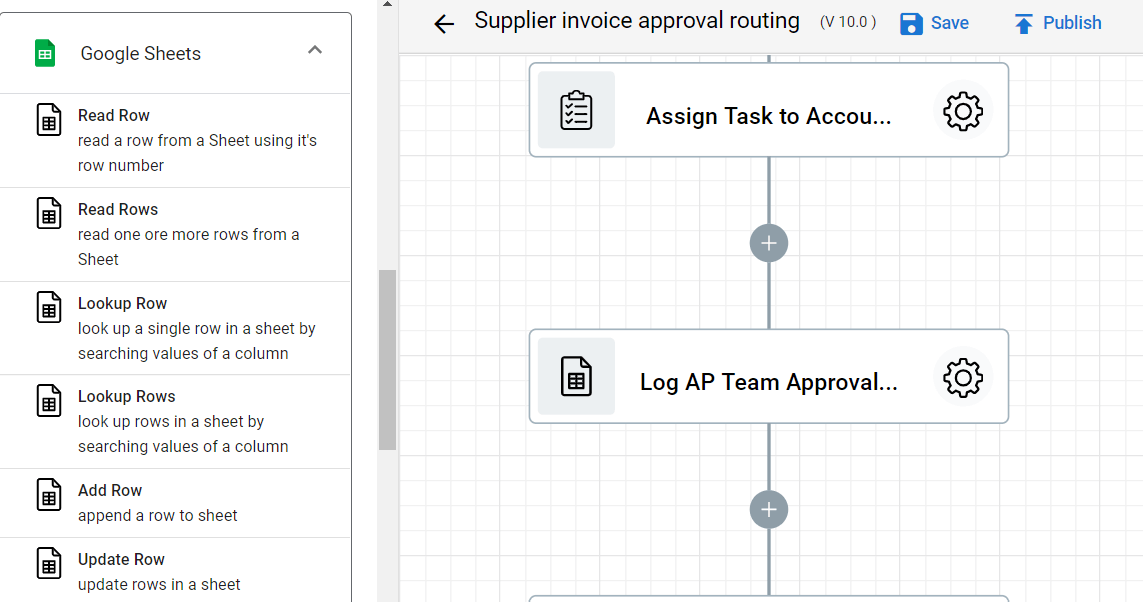 Step 16.1. of Supplier Invoice Approval Workflow automation. adding Update Row step.