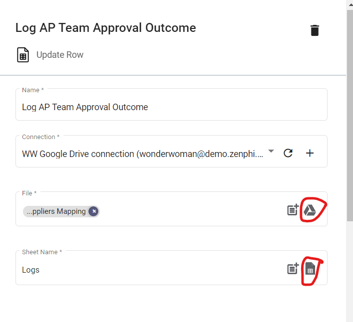 Step 16.2 of Supplier Invoice Approval Workflow automation, configuring Update Row step.