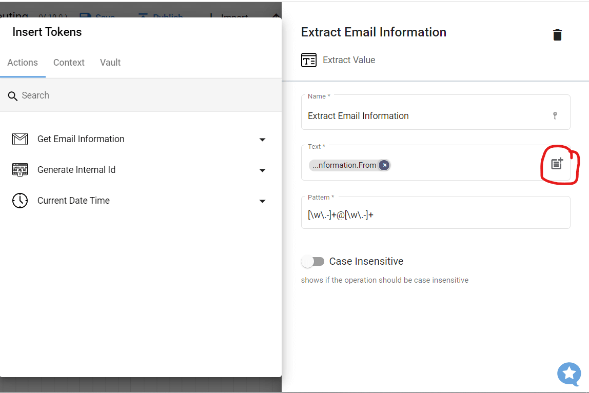 Step 8.2. Configuring the email information that will be extracted.