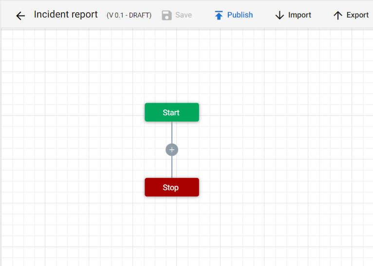 An empty workflow. You will drag and drop all the ections you will need into this workflow.