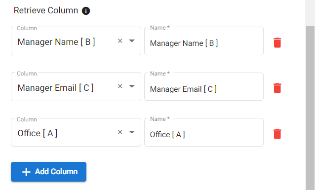 Configuring the Retrieve Column section when automating incident report workflow on g suite.
