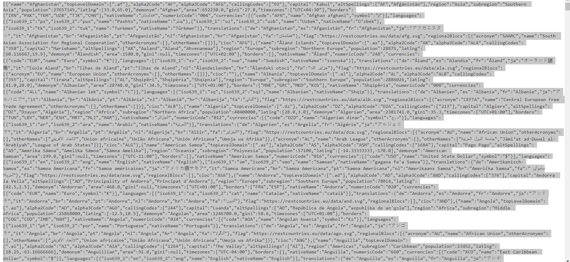The Json Payload sample.