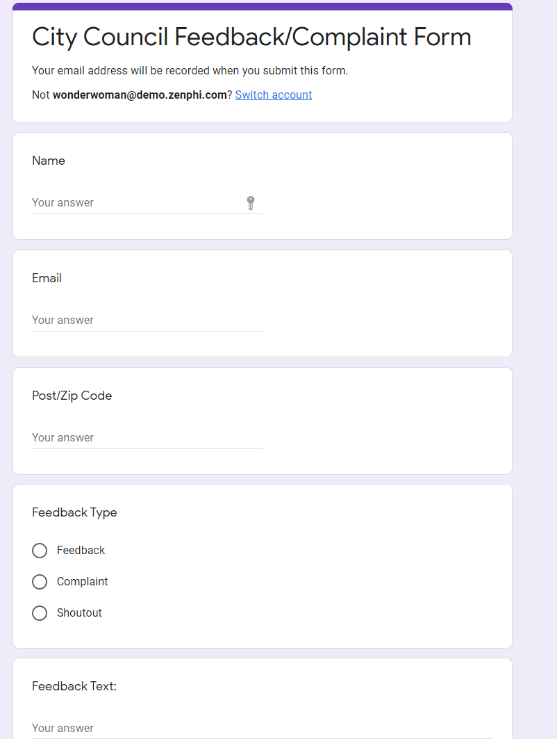 Automating Feedback/Complaint Workflow Step 01.1. Creating the Form.