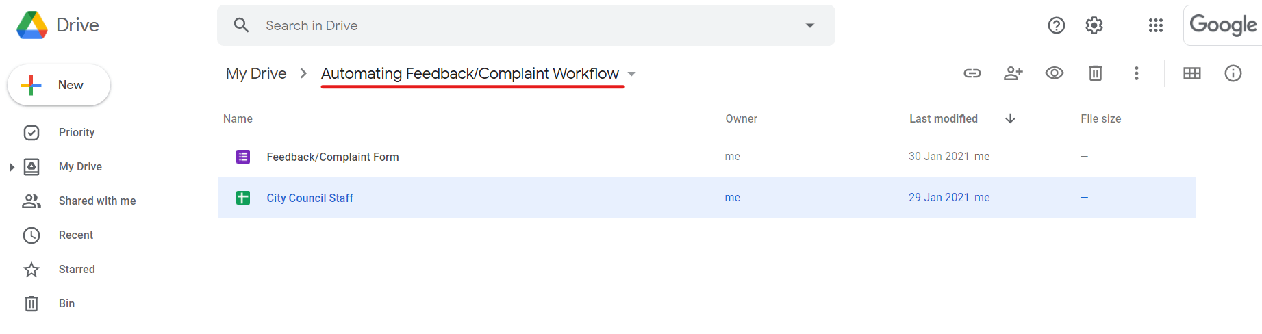 Automating Feedback/Complaint Workflow Step 01.3. Assigning a specific folder within your Google Drive.