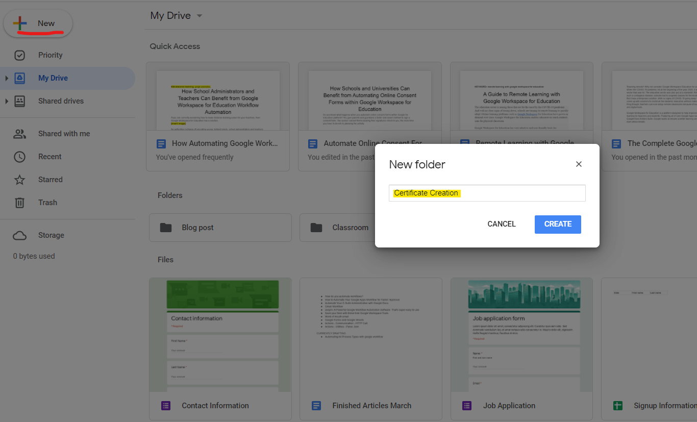 Creating a folder within your Google Drive to house all the documents and templates needed for certificate creation process in our distance learning.