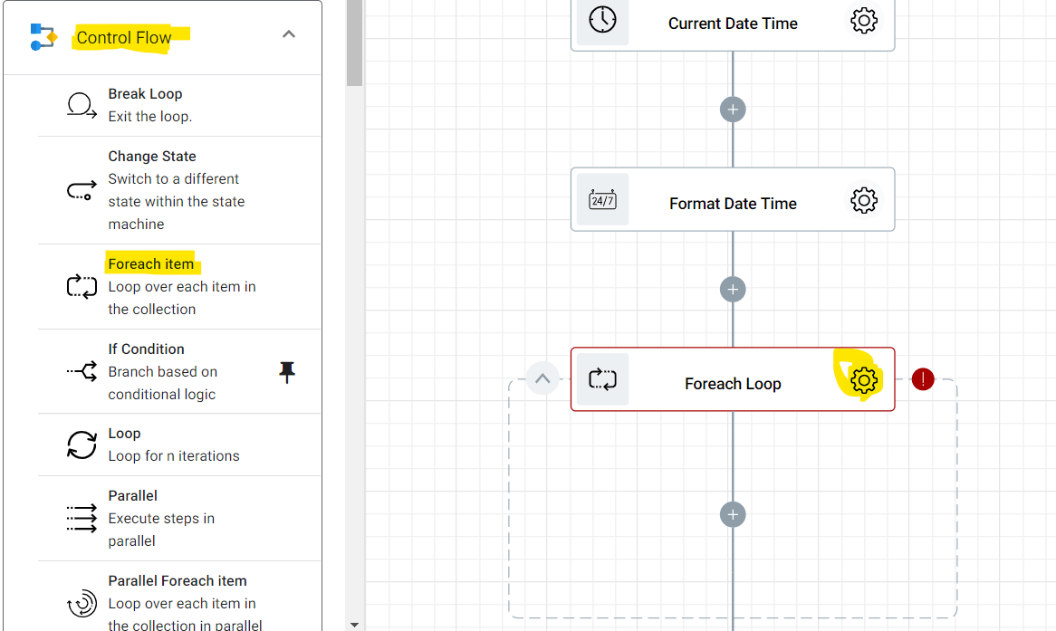Adding the Foreach Item to our flow. This will go through each row to retrieve and log the necessary information for our distance learning certificate creation.