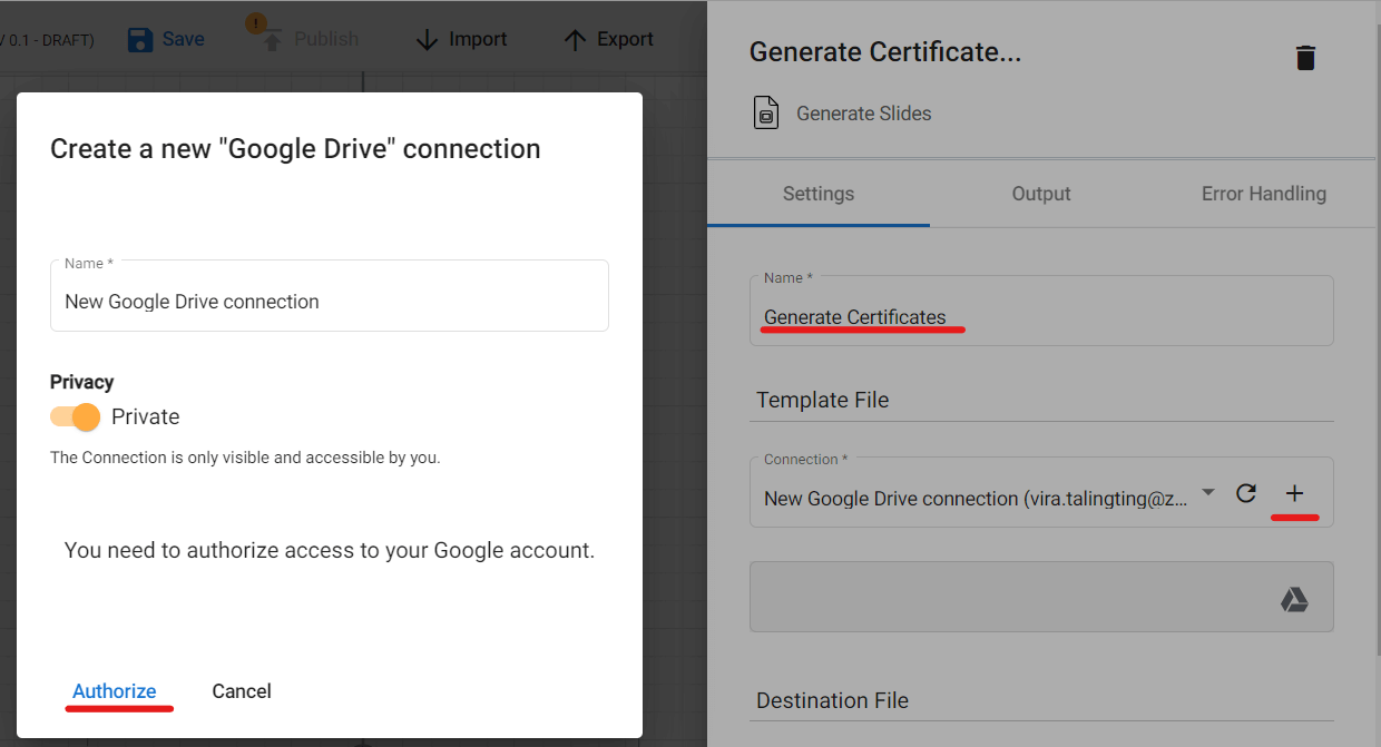 Configuring our Generate Slides action for our distance learning automated certificate creation.