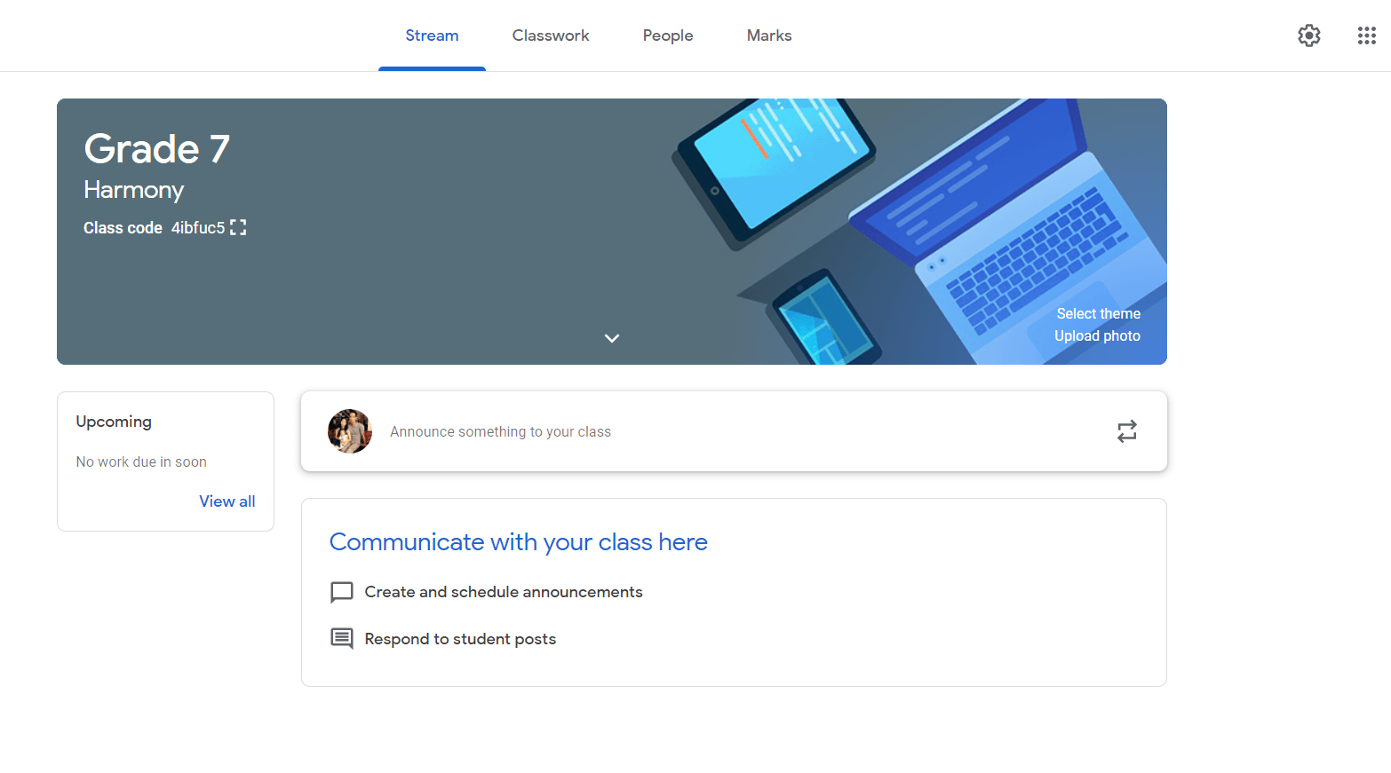 Classroom interface when you start remote learning with Google Workspace for Education. You can now start assigning tasks to your students, grade their work directly, and create announcements.