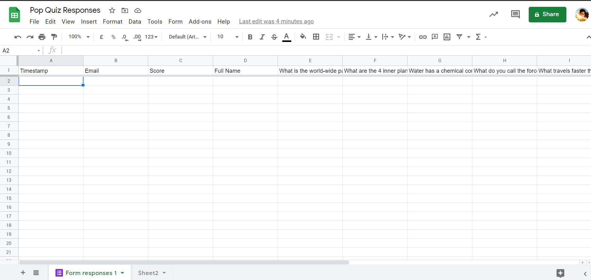 Gamifying learning automation step 01: Using Google Sheets to collect quiz responses.