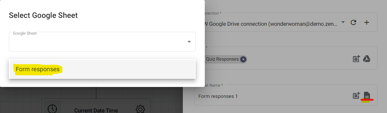 Select the right sheet within the Pop Quiz responses file.