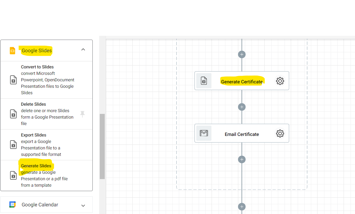 Adding the Generate Slides action into the Gamifying Learning process Automation flow. This will generate the certificates to be given to the participating students.