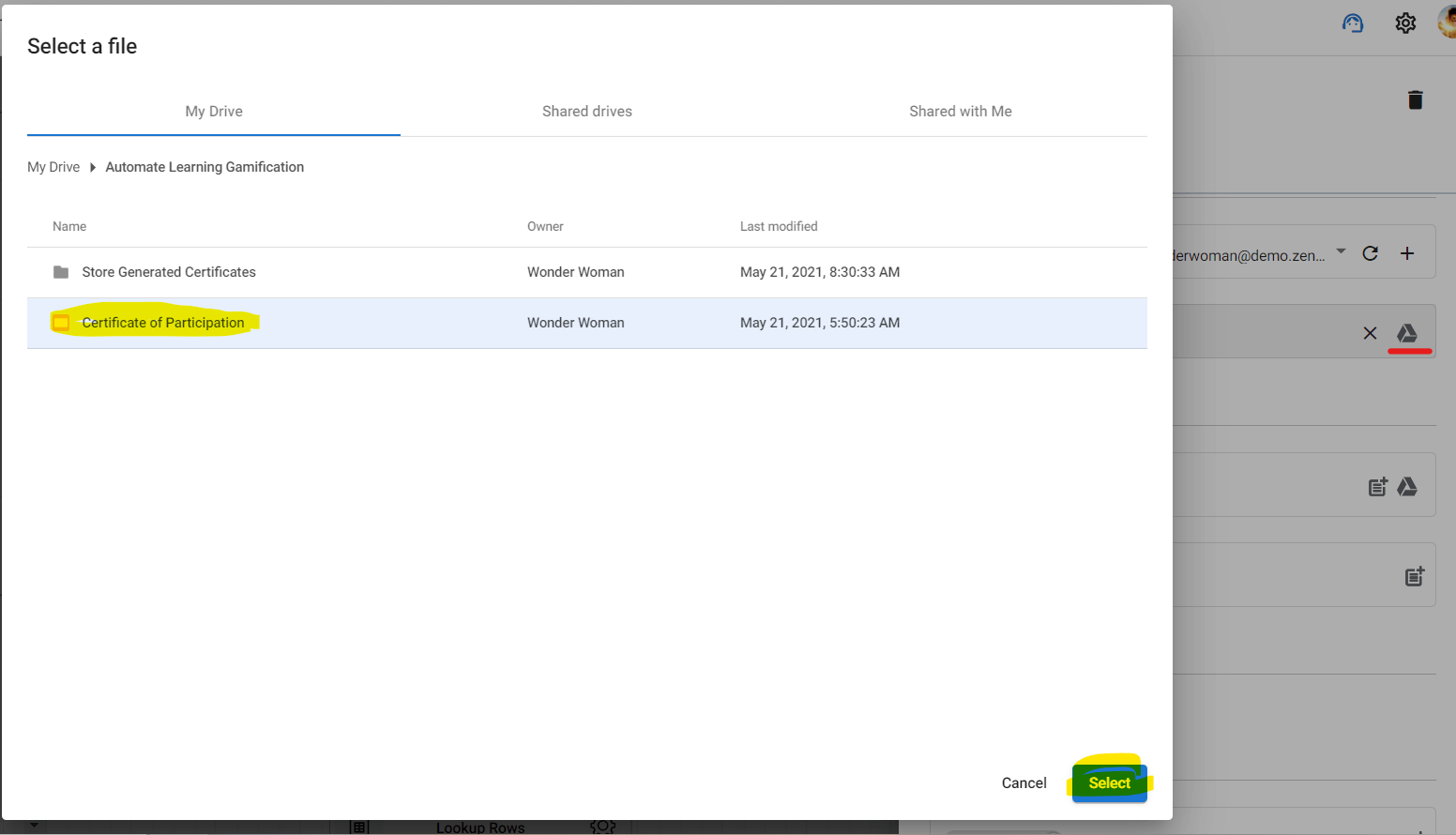 Configuring the Generate Slides action by pointing the right template file.