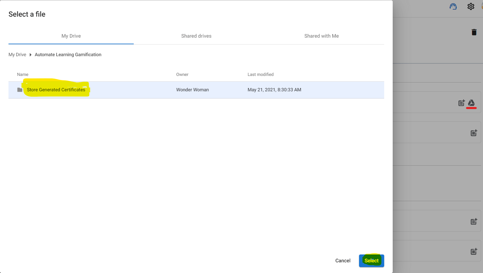 Ponting the Destination folder for the newly generated certificates.