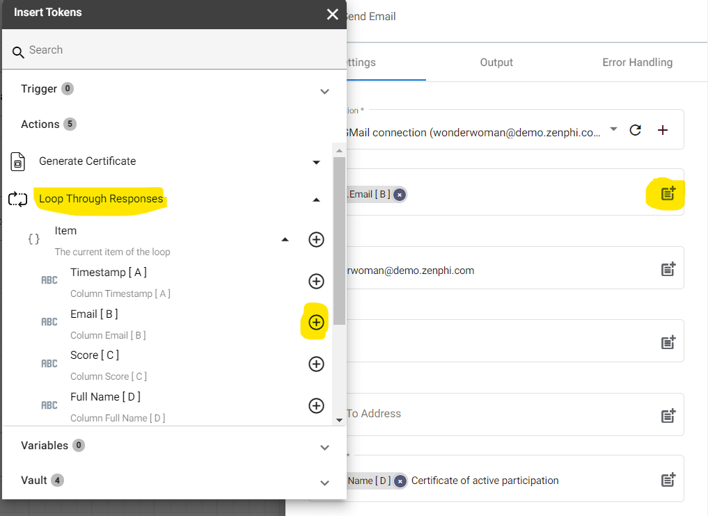 """Configure the """"To"""" field by selecting """"Email[B]"""" under Pop Quiz Response in the token panel."""