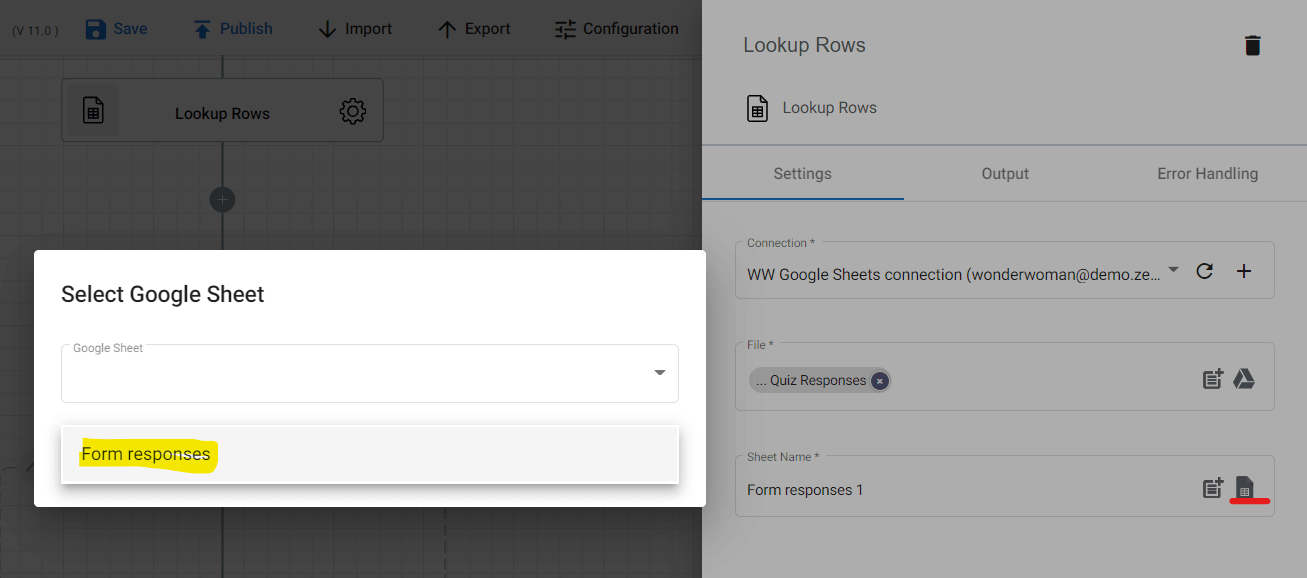 Making sure that the right sheet name is pointed in the Sheet name field.
