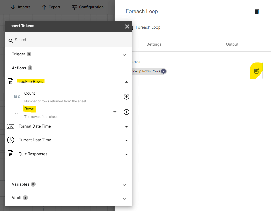 Adding another Foreach Item action into the Gamifying Learning flow. Configure this action properly by selecting Row under the Lookup Rows action int the tokens panel.