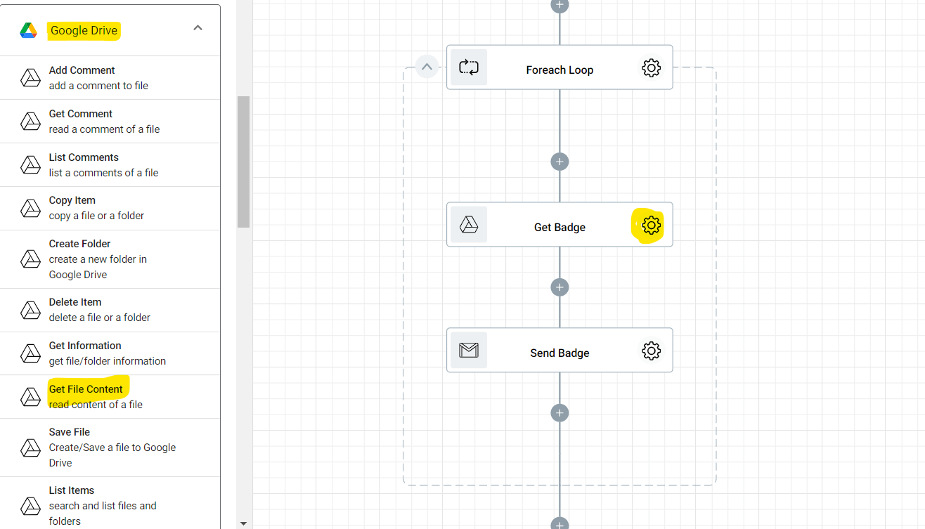 Adding the Get File Content action into the Gamifying Learning flow. This action will read and retrieve files inside your Google Drive.