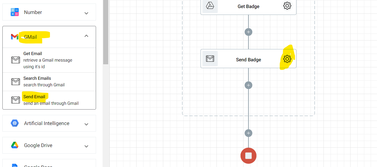 Adding another Send Email action in the Gamifying Learning flow. this action will send out the reward badge to those who scored at least 13 out of 15.