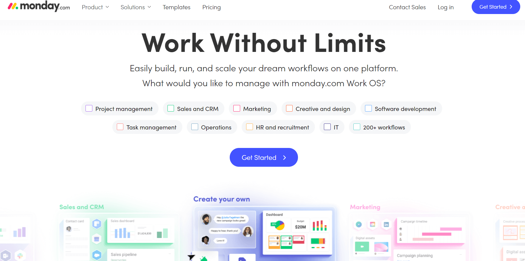 Monday is a workflow management software that has a good dashboarding functionality. It also resembles a spreadsheet but with more capabilities.